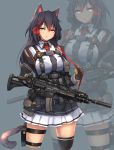 absurdres animal_ears assault_rifle black_hair cat_ears cat_girl cat_tail commission gloves gun h&k_g36 highres holding holding_gun holding_weapon long_hair looking_at_viewer original rifle sailor_senshi_uniform skirt syaha tail weapon yellow_eyes
