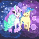 :d alternate_color blue_fire creature fire full_body galarian_and_normal galarian_ponyta gen_1_pokemon highres horn horse myhandsarecrazy no_humans open_mouth pokemon pokemon_(creature) ponyta purple_background shiny_pokemon signature smile unicorn