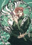 2boys card gakuran green_eyes hierophant_green holding holding_card jojo_no_kimyou_na_bouken kakyouin_noriaki komiya_kuniharu male_focus multiple_boys pose redhead school_uniform stand_(jojo) tentacles