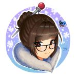 1girl :3 bangs black-framed_eyewear brown_eyes brown_hair closed_eyes commentary cryingrobot eyebrows_visible_through_hair floating fur_collar glasses hair_bun hair_intakes hair_ornament hair_stick highres looking_at_viewer mei_(overwatch) overwatch pink_pupils portrait short_hair signature smile snowball_(overwatch) snowflakes