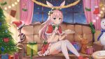 1girl animal_ears ass ayana_nana bikini_top blue_eyes blush boots box breasts cake capelet christmas christmas_tree couch cup curtains eating food fork frilled_skirt frills fur_trim gift gift_box hair_ornament hat highres hokori_sakuni holding holding_fork holding_plate indoors long_hair looking_at_viewer merry_christmas miniskirt nana_channel navel on_couch pink_hair plate rabbit_ears red_bikini_top red_skirt santa_hat saucer sitting skirt small_breasts solo stomach stuffed_animal stuffed_toy thigh-highs virtual_youtuber white_legwear window