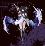 black_hair blue_flower bone bone_hair_ornament boots company_name dress fan flower gloves integral_killer_(phantom_of_the_kill) katana knee_boots masamune_(phantom_of_the_kill) official_art petals phantom_of_the_kill puffy_short_sleeves puffy_sleeves red_eyes sheath sheathed short_sleeves skeletal_wings star_ornament sword thigh-highs weapon white_dress