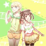 2girls alternate_costume blonde_hair blue_eyes blush brown_hair earrings gen'ei_ibunroku_sharp_fe jewelry lowres minamoto_mamori multiple_girls musical_note open_mouth star teeth twintails yumizuru_eleanora