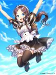 1girl apron arms_up artist_name backpack bag bangs black_footwear black_legwear black_skirt blue_eyes blue_sky blush bow bowtie brown_hair child clouds commentary_request day fate/grand_order fate_(series) frilled_skirt frills glint inline_skates jumping lens_flare leonardo_da_vinci_(fate/grand_order) looking_at_viewer maid maid_headdress midair outdoors parted_bangs puffy_short_sleeves puffy_sleeves randoseru roller_skates round_teeth short_sleeves skates skirt sky solo teeth thigh-highs upper_teeth white_apron white_bow white_neckwear yamyom