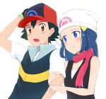 1boy 1girl baseball_cap black_gloves black_hair black_shirt blue_eyes blue_hair blush bracelet brown_eyes closed_mouth couple gloves hand_on_headwear haruzu2000 hat hikari_(pokemon) jewelry locked_arms long_hair pink_scarf pokemon pokemon_(anime) print_hat satoshi_(pokemon) scarf shiny shiny_hair shirt short_sleeves simple_background sleeveless sleeveless_shirt smile white_background white_headwear