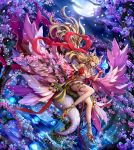1girl animal_ear_fluff animal_ears blonde_hair blue_fire cherry_blossoms fire fox_ears fox_girl fox_tail full_moon highres holding_flame in_tree kitsune moon night night_sky original red_nails sammi_hisame sitting sitting_in_tree sky tagme tail tree violet_eyes water