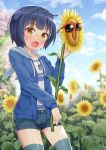 1girl :d animal_ears animal_hood bangs blue_hair blue_jacket blue_shorts blue_sky blurry blurry_background blush brick_wall brown_eyes bunny_hood clouds day depth_of_field eyebrows_visible_through_hair fake_animal_ears fang flower gochuumon_wa_usagi_desu_ka? grey_legwear highres holding holding_flower hood hood_down hooded_jacket jacket jouga_maya looking_at_viewer niiya open_clothes open_jacket open_mouth outdoors rabbit_ears red-framed_eyewear short_shorts shorts sky smile solo sunflower sunglasses thigh-highs