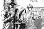 2girls 4boys blood_(game) book bookshelf caleb_(blood) coat commentary crossover desk english_commentary eyes_in_shadow gaikotsu_shotenin_honda-san greyscale hat hiding holding holding_book honda-san long_hair monitor monochrome multiple_boys multiple_girls queue reading shopping_basket short_hair sign simple_background skeleton sling smile substance20 trembling weapon weapon_on_back