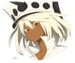 1girl commentary_request dark_skin guilty_gear guilty_gear_xrd looking_at_viewer medium_hair orange_eyes ramlethal_valentine simple_background solo white_background white_hair zaki_(narashigeo)