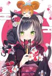 2girls :d :o animal_ear_fluff animal_ears bangs black_flower black_hair black_kimono blush blush_stickers cat_ears cat_girl cat_tail cherry_blossoms chibi chibi_on_head chinese_zodiac closed_eyes commentary_request egasumi eyebrows_visible_through_hair fang floral_background floral_print flower green_eyes hair_flower hair_ornament highres japanese_clothes kimono kyaru_(princess_connect) long_sleeves looking_at_viewer megumi_kei minigirl mouse_ears multicolored_hair multiple_girls obi on_head open_mouth pecorine princess_connect! princess_connect!_re:dive print_kimono red_flower sash smile streaked_hair tail tail_raised tiara upper_body white_flower white_hair wide_sleeves year_of_the_rat