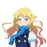 1girl arms_at_sides black_vest blonde_hair blue_scarf cato_(monocatienus) checkered checkered_scarf commentary_request eyebrows_visible_through_hair juliet_sleeves kirisame_marisa long_hair long_sleeves looking_at_viewer no_hat no_headwear puffy_sleeves scarf shirt simple_background smile solo standing touhou unmoving_pattern upper_body very_long_hair vest white_background white_shirt yellow_eyes