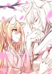 1boy 1girl animal_ear_fluff animal_ears blonde_hair blurry blurry_foreground blush chita_(ketchup) closed_eyes closed_mouth commentary_request depth_of_field fox_ears hands_together highres japanese_clothes kimono long_hair original parted_lips petals pink_eyes pink_kimono profile short_sleeves signature tree_branch upper_body white_background white_kimono wide_sleeves