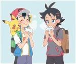 2boys baseball_cap black_hair black_pants blue_background blue_eyes blue_shorts blue_vest blush brown_backpack chewing closed_eyes eating gen_1_pokemon gou_(pokemon) green_backpack grey_shirt hat multiple_boys okaohito1 pants pikachu pokemon pokemon_(anime) pokemon_(creature) pokemon_on_shoulder pokemon_swsh_(anime) satoshi_(pokemon) shirt short_sleeves shorts simple_background spiky_hair vest white_shirt