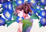 1girl androgynous bandages bare_shoulders blue_flower brown_hair closed_mouth dororo_(character) dororo_(tezuka) floral_background flower from_behind frown japanese_clothes leaf looking_at_viewer morning_glory ponytail reverse_trap sakuramochi1003 sleeveless solo torn_clothes upper_body violet_eyes