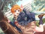 bang_dream! blush jacket kitazawa_hagumi orange_hair red_eyes short_hair smile