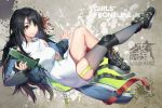 1girl absurdres bare_legs bare_shoulders black_hair black_legwear blue_jacket bottomless breasts c-ms_(girls_frontline) cbj-ms commentary_request convenient_leg copyright_name full_body garter_straps girls_frontline hair_between_eyes henz_(86551650) highres holding holding_weapon huge_filesize jacket knee_up leg_up long_hair medium_breasts messy_hair no_panties off_shoulder open_clothes open_jacket red_eyes shirt single_thighhigh sleeveless sleeveless_shirt smile solo thigh-highs thighs very_long_hair weapon white_shirt