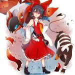 1girl :d ascot bangs bare_shoulders belt black_belt black_footwear black_gloves black_hair boots bow breasts collarbone commentary_request crossover detached_sleeves eyebrows_visible_through_hair frilled_bow frills full_body gen_2_pokemon gen_5_pokemon gloves hair_between_eyes hair_bow hakurei_reimu head_tilt high_heel_boots high_heels highres himari-san_yanaika houndoom long_sleeves looking_at_viewer open_mouth petticoat poke_ball pokemon pokemon_(creature) red_bow red_eyes red_skirt shadow short_hair skirt small_breasts smile standing touhou ultra_ball v-shaped_eyebrows volcarona white_background wide_sleeves yellow_neckwear