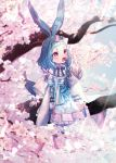 1girl :o absurdres animal_ears bangs blue_hair blurry blurry_background bow braid brooch cherry cherry_blossoms day flower food fruit hair_bow hair_flower hair_ornament highres huge_filesize in_tree jewelry long_sleeves medium_hair moe_(hamhamham) outdoors personification pokemon red_eyes sitting solo tail tree