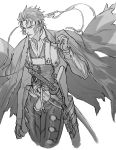1boy closed_eyes fate/grand_order fate_(series) greyscale gun haori hijikata_toshizou_(fate/grand_order) holster holstered_weapon japanese_clothes katana komiya_kuniharu male_focus monochrome rifle sheath sheathed shinsengumi sideburns solo sword vest waistcoat weapon