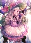 +_+ 1girl absurdres blurry blurry_background blush braid dappled_sunlight dress flower food fruit grapes hand_up hat hat_flower hat_ornament highres huge_filesize long_sleeves moe_(hamhamham) personification pocket pokemon silver_hair smile solo striped striped_legwear sunlight