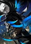 1boy black_gloves blue_butterfly bug butterfly cane cape card cityscape facial_hair fate/grand_order fate_(series) from_behind full_moon gloves grin highres insect james_moriarty_(fate/grand_order) joker male_focus moon mustache night playing_card smile suzuki_rui