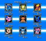 :o alternate_color_school_swimsuit blue_background blue_eyes brown_eyes character_name creature eevee english_text espeon face flareon frown gen_1_pokemon gen_2_pokemon gen_4_pokemon gen_6_pokemon glaceon jolteon leafeon looking_at_viewer no_humans pixel_art pokemon pokemon_(creature) racieb red_eyes ribbon rockman school_swimsuit smirk swimsuit sylveon umbreon violet_eyes