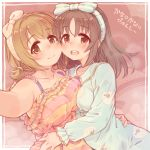2girls 7010 :d animal_print armpits bangs bare_shoulders blush bow breasts brown_eyes brown_hair cheek-to-cheek collarbone commentary_request flower hair_bow hug idolmaster idolmaster_cinderella_girls imai_kana large_breasts long_hair long_sleeves looking_at_viewer medium_breasts mimura_kanako multiple_girls open_mouth pajamas self_shot sheep_print short_hair smile translation_request upper_teeth