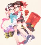 2girls aco_co0 bangs baseball_cap bike_shorts black_headwear black_shorts blue_footwear blunt_bangs blurry closed_mouth clothes_writing commentary_request domino_mask dutch_angle full_body green_eyes gym_shorts hakama hat heart heavy_splatling_(splatoon) highres holding holding_weapon hug inkling inkling_(language) jacket japanese_clothes long_hair long_sleeves looking_at_viewer mask mini_splatling_(splatoon) multiple_girls no_socks pink_hair pointy_ears red_eyes red_footwear red_hakama red_shirt shirt shoes short_hair short_over_long_sleeves short_ponytail short_shorts short_sleeves shorts smile sneakers splatoon_(series) splatoon_2 t-shirt tentacle_hair weapon white_jacket yuri