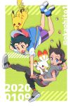 2019 2020 2boys artist_name baseball_cap black_hair black_pants blue_eyes blue_footwear blue_vest brown_eyes dark_skin dark_skinned_male falling gen_1_pokemon gen_8_pokemon gou_(pokemon) green_background grey_footwear grey_shirt hat holding holding_hat looking_down lower_teeth multiple_boys okaohito1 open_mouth pants pikachu poke_ball poke_ball_(generic) pokemon pokemon_(anime) pokemon_(creature) pokemon_swsh_(anime) purple_shorts red_legwear satoshi_(pokemon) scorbunny shirt shoes short_sleeves shorts sneakers socks spiky_hair twitter_username vest white_shirt
