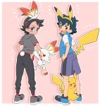 2boys animal_ears black_hair black_pants blue_footwear blue_shorts blue_vest blush bunny_tail commentary dark_skin dark_skinned_male embarrassed emphasis_lines from_behind full_body gen_1_pokemon gen_8_pokemon gou_(pokemon) grey_footwear grey_shirt holding_another's_arm leg_hug looking_at_viewer lower_teeth multiple_boys okaohito1 open_mouth pants pikachu pikachu_ears pikachu_tail pink_background pokemon pokemon_(anime) pokemon_(creature) pokemon_ears pokemon_swsh_(anime) rabbit_ears satoshi_(pokemon) scorpion_tail shirt shoes shorts simple_background sneakers spiky_hair sweat tail vest white_shirt