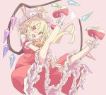 1girl banana_takemura blonde_hair bow fang flandre_scarlet full_body hat heart highres long_hair mob_cap one_side_up open_mouth petticoat pink_background pointy_ears red_bow red_eyes red_footwear red_skirt red_vest shoes short_sleeves simple_background skirt skirt_set slit_pupils smile socks solo touhou vest white_legwear wings