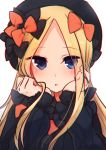 1girl abigail_williams_(fate/grand_order) bangs black_bow black_dress black_headwear blonde_hair blue_eyes blush bow dress eyebrows_visible_through_hair eyes_visible_through_hair fate/grand_order fate_(series) forehead hair_bow hands_up hat highres long_hair long_sleeves looking_at_viewer nishi_(nyon_prn) orange_bow parted_bangs parted_lips simple_background sleeves_past_wrists solo upper_body very_long_hair white_background