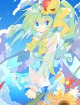 1girl blue_eyes blue_skirt bow clouds daiyousei day fairy_wings flower green_hair hair_bow hair_flower hair_ornament hands_clasped highres long_hair long_sleeves looking_at_viewer nikorashi-ka outdoors own_hands_together shirt side_ponytail skirt sky solo sunflower touhou upper_body white_shirt wind wings yellow_bow yellow_neckwear