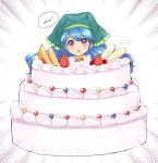 1girl banana blue_hair blueberry blush cake confused dress english_text eyes_visible_through_hair food fruit green_headwear haniyasushin_keiki head_scarf highres long_hair looking_at_viewer magatama magatama_necklace open_mouth ougi_hina pun solo strawberry touhou very_long_hair violet_eyes whipped_cream white_background yellow_dress