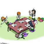 5girls :t akiyama_yukari big_belly black_hair black_legwear black_neckwear blouse brown_hair cake closed_mouth commentary cushion eighth_note falling food fork gift girls_und_panzer green_skirt hairband hand_on_own_face holding holding_food holding_fork isuzu_hana kogane_(staygold) long_hair long_sleeves lowres lying messy_hair miniskirt multiple_girls musical_note navel neckerchief nishizumi_miho no_eyes on_back ooarai_school_uniform open_mouth orange_hair pleated_skirt reizei_mako school_uniform seiza serafuku sitting skirt socks spoken_musical_note table takebe_saori thigh-highs twitter_username white_blouse white_hairband zabuton