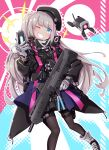 1girl absurdres backpack bag bangs beret black_headwear black_legwear blue_eyes boots cellphone commentary_request desert_tech_mdr dinergate_(girls_frontline) eyebrows_visible_through_hair flip_phone girls_frontline glint gloves grey_gloves grey_hair grin gun haradaiko_(arata_himeko) hat highres holding holding_gun holding_phone holding_weapon holster long_hair long_sleeves looking_at_viewer mdr_(girls_frontline) multicolored multicolored_background multicolored_hair one_eye_closed one_side_up pantyhose phone pom_pom_(clothes) side_ponytail smile solo_focus streaked_hair tactical_clothes thigh_holster weapon
