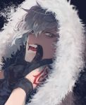 1boy close-up command_spell fangs fangs_out finger_to_cheek fingerless_gloves fur_trim gloves hood hood_up kadoc_zemlupus male_focus silver_hair solo tatsuta_age white_hair yellow_eyes