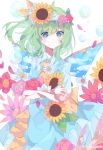 1girl absurdres artist_name back_bow blue_dress blue_eyes bow bubble carrying clouds crossed_arms daisy daiyousei dress fairy_wings flower frills green_hair hair_ribbon head_wreath highres long_hair petals ribbon rose shirt side_ponytail sky solo sunflower touhou umemaro_(siona0908) upper_body white_background white_shirt wings yellow_neckwear yellow_ribbon
