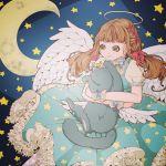 1girl angel angel_wings blue_dress brown_hair cat dress halo highres holding holding_cat misaki_(pixiv7864797) neck_ribbon original ribbon signature star star_print starry_background wings