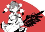 1girl black_skirt commentary feathered_wings frills hat highres knee_up looking_at_viewer ma_sakasama monochrome neck_ribbon one_eye_closed open_mouth pointy_ears pom_pom_(clothes) red_background red_eyes ribbon shameimaru_aya shirt short_hair short_sleeves skirt smile solo spot_color tokin_hat touhou upper_body white_shirt wings