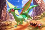 +_+ claws clouds day desert dragon fangs flygon flying gen_3_pokemon no_humans open_mouth outdoors pippi_(pixiv_1922055) pokemon pokemon_(creature) sky trapinch wings