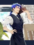 1boy blue_hair cu_chulainn_(fate)_(all) fangs fate/hollow_ataraxia fate_(series) hand_on_hip lancer long_hair male_focus menu necktie ponytail red_eyes restaurant solo tatsuta_age vest waistcoat waiter