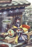 1girl absurdres ahoge androgynous architecture bandaged_leg bandages bangs black_hair blue_kimono blush bodysuit_under_clothes building cat cat_on_lap chopsticks commentary_request cup east_asian_architecture eyebrows_visible_through_hair food full_body geta green_tea gunkanmaki highres ikura_(food) japanese_clothes kimono leaf looking_at_viewer makizushi nigirizushi noren nori_(seaweed) omelet original outdoors oversized_food petting rice roe short_hair sidelocks sign sitting smile solo_focus soy_sauce steam stone_lantern sushi sushi_geta tabi_boots tamagoyaki tea tree yellow_eyes yukata yunomi zoff_(daria)