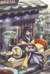 1girl absurdres ahoge androgynous architecture bandaged_leg bandages bangs black_hair blue_kimono blush bodysuit_under_clothes building cat cat_on_lap chopsticks commentary_request cup east_asian_architecture eyebrows_visible_through_hair food full_body geta green_tea gunkanmaki highres ikura_(food) japanese_clothes kimono leaf looking_at_viewer makizushi nigirizushi noren nori_(seaweed) omelet original outdoors oversized_food petting rice roe short_hair sidelocks sign sitting smile solo_focus soy_sauce steam stone_lantern sushi sushi_geta tabi_boots tamagoyaki tea tree yellow_eyes yukata yunomi zoff_(daria)