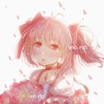 1girl artist_name backlighting blush bouquet buttons choker close-up expressionless eyebrows_visible_through_hair eyelashes flat_chest floating_hair flower flower_request frilled_sleeves frills hair_between_eyes hair_ribbon holding holding_bouquet kaname_madoka light_particles looking_away mahou_shoujo_madoka_magica parted_lips petals pink_eyes pink_flower pink_hair pink_ribbon pink_theme puffy_short_sleeves puffy_sleeves red_choker red_neckwear ribbon ribbon_choker short_sleeves short_twintails sidelocks simple_background solo soul_gem twintails upper_body white_background youxiaomo