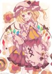 1girl absurdres apron bandaid bandaid_on_face black_bow blonde_hair blush_stickers bow crystal fang feet_out_of_frame flandre_scarlet flower frills hand_up hat hat_ribbon highres long_hair long_sleeves looking_at_viewer mob_cap open_mouth red_eyes red_ribbon red_skirt red_vest ribbon shirt side_ponytail skirt smile touhou umemaro_(siona0908) vest waist_apron white_headwear white_shirt wing_bow wings yellow_neckwear