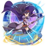 1girl ahoge bangs black_legwear cape dual_wielding faulds floating_hair full_body gauntlets hair_intakes hairband highleg highleg_leotard highres holding holding_sword holding_weapon leotard long_hair long_skirt looking_at_viewer official_art open_mouth purple_cape purple_hair purple_skirt red_eyes red_hairband running shiny shiny_hair shoulder_armor side_slit skirt solo spaulders sword sword_art_online thigh-highs transparent_background very_long_hair weapon yuuki_(sao)