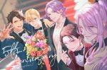 5boys alternate_hairstyle anniversary aqua_eyes arm_around_shoulder blazer blonde_hair blue_eyes bouquet bow bowtie brown_hair collared_shirt earrings english_text flower hachisuka_kotetsu hair_slicked_back jacket jewelry kasen_kanesada kashuu_kiyomitsu male_focus moge-hera mole mole_under_mouth multiple_boys mutsu-no-kami_yoshiyuki one_eye_closed open_mouth ponytail purple_hair red_eyes red_nails shirt smile touken_ranbu tuxedo yamanbagiri_kunihiro yellow_eyes