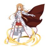 1girl armored_boots asuna_(sao) bangs boots braid breastplate brown_eyes brown_hair cape closed_mouth crown_braid floating_hair full_body gauntlets hair_ribbon highres holding holding_sword holding_weapon long_hair looking_at_viewer miniskirt official_art pleated_skirt red_cape red_skirt ribbon shiny shiny_hair skirt smile solo standing sword sword_art_online thigh-highs transparent_background very_long_hair waist_cape weapon white_cape white_legwear white_ribbon zettai_ryouiki