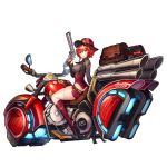 1girl badge boots full_body grin ground_vehicle gun hair_between_eyes handgun highres hover_bike iron_annie last_origin looking_at_viewer looking_back motor_vehicle motorcycle necktie official_art paintale redhead revolver sidelocks smile solo tachi-e thigh-highs transparent_background weapon white_legwear yellow_eyes